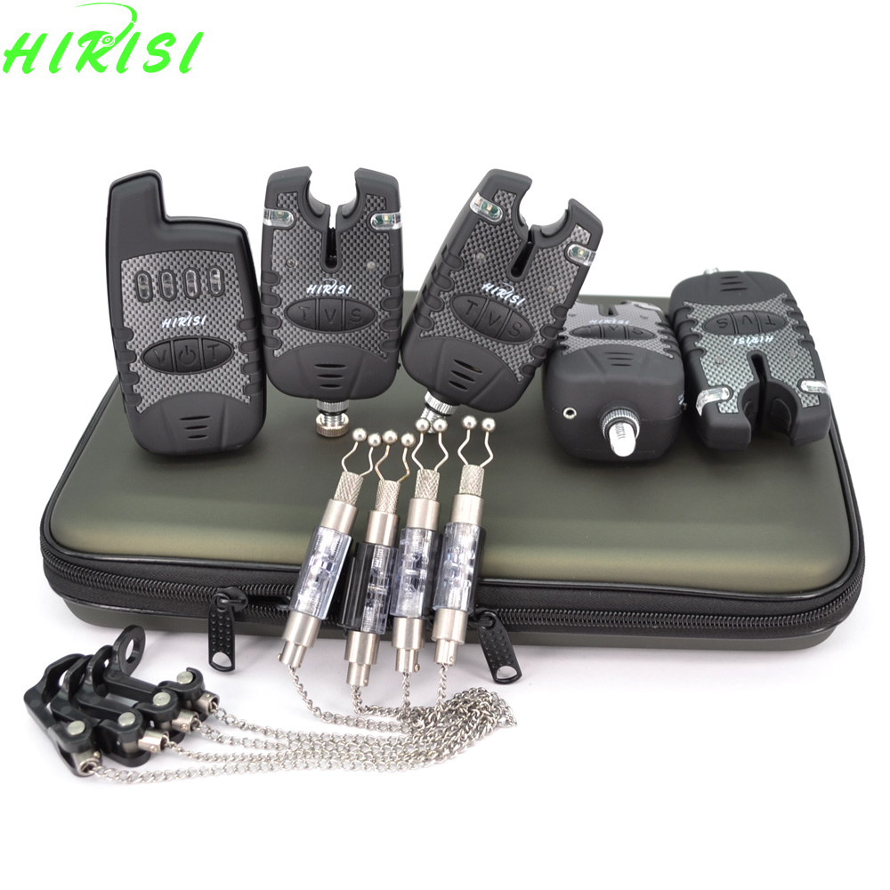 Carp fishing 4+1 wireless bite alarm set with 4pcs fishing chain swinger indicator Fishing Tackle