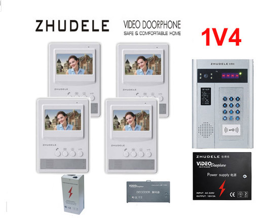 ZHUDELE Building Home security intercom system 4 Units Apartment Video Door Phone Bell Intercom System 4.3TFT monitor IN STOCK