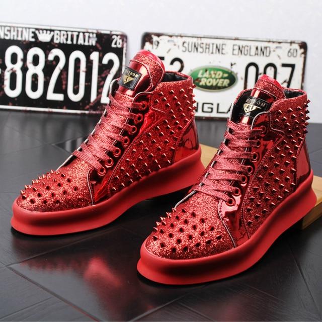 Nueva llegada mens casual punk de noche vestido club zapato remaches de cuero genuino botas pisos zapatos de plataforma etapa tobillo botines zapatos