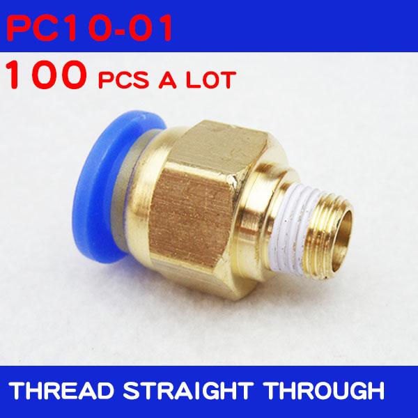 100pcs Free shipping BSPT PC10 01 10mm to 1 8 Pneumatic Connectors male straight one touch