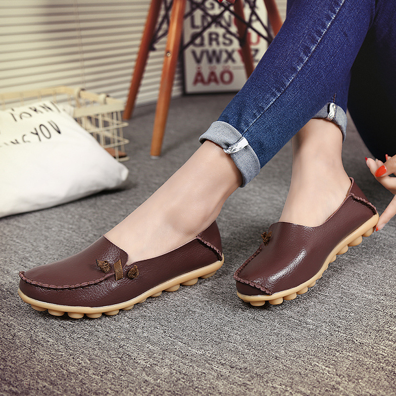 2017 new genuine leather loafers massage solid cheap shoes slip on 17 colors flat shoes women shallow zapatillas mujer casual zoqi shoes woman candy colors genuine leather women casual shoes 2018fashion breathable slip on peas massage flat shoes size 44