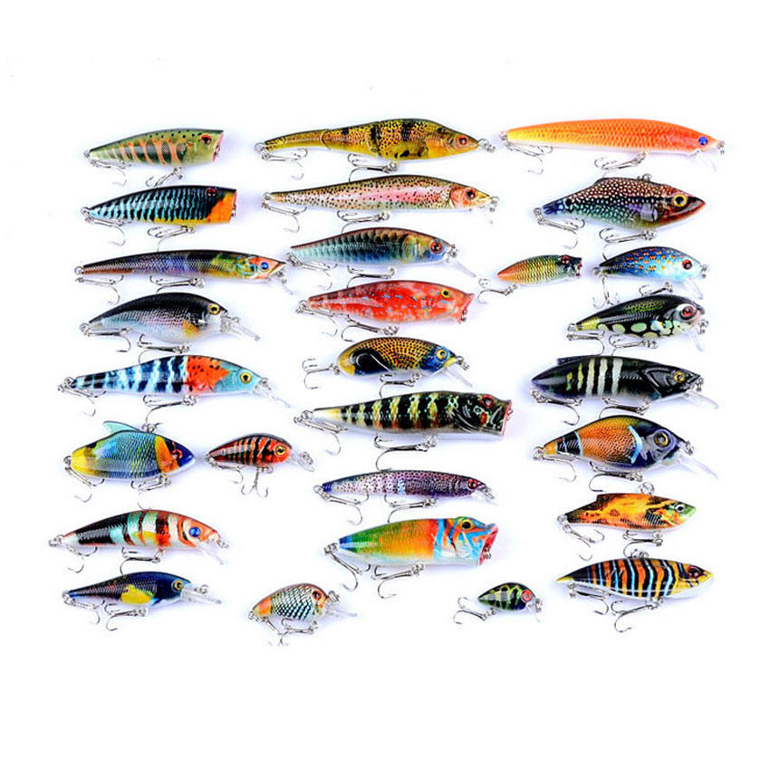 28pcs Fishing Lure Wobblers 255g Mixed Crank Bass Minnow Popper VIB Hard Bait Carp Fishing Isca Artificial Painted Bait 1pc fishing lure exported to japan fishing bait 5 3 sinking crankbait lures popper minnow bass crank bait hook tackle