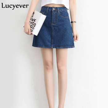 Lucyever Fashion Korean Summer Women Denim Skirt High Waist Black Mini Skirts Package Hip Blue Jeans Harajuku Plus Size Cotton 1
