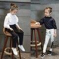 Дети попадают 2016 новых девушка повседневная рубашка вышитая рубашка синий и белый жемчуг бесплатная доставка