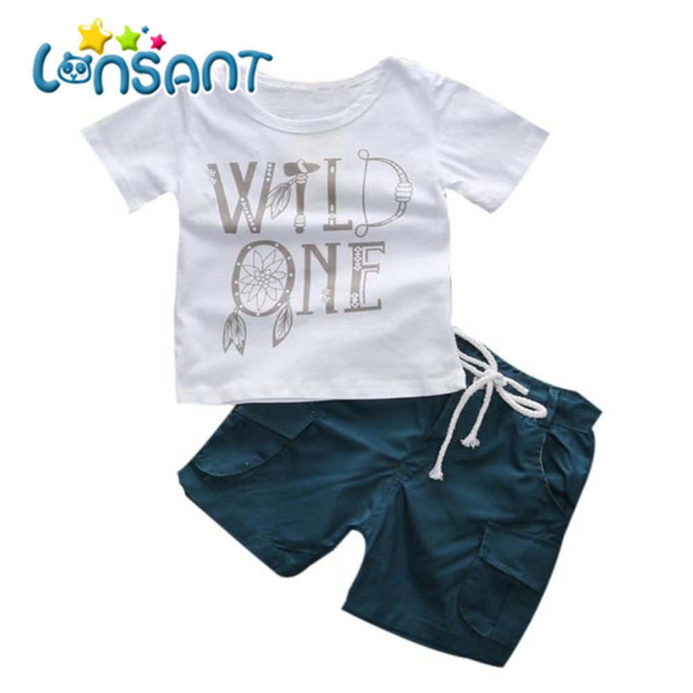 LONSANT 1 компл. 2018 Детские Детская Одежда для мальчиков 100% футболка с принтом с буквами + шорты брюки одежда наряды