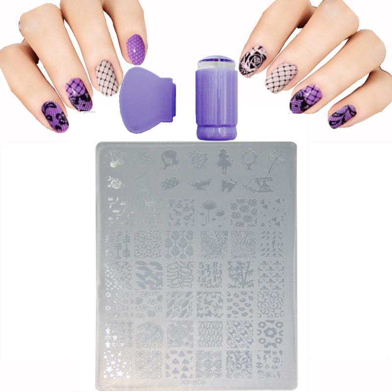 Fashion 9.5x14.5cm Plastic Stencils For Nails Lips Butterfly Animal Acrylic Nail Art Templates Plates Nail Stamping Scraper