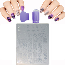 Fashion 9.5×14.5cm Plastic Stencils For Nails Lips Butterfly Animal Acrylic Nail Art Templates Plates +Nail Stamping + Scraper