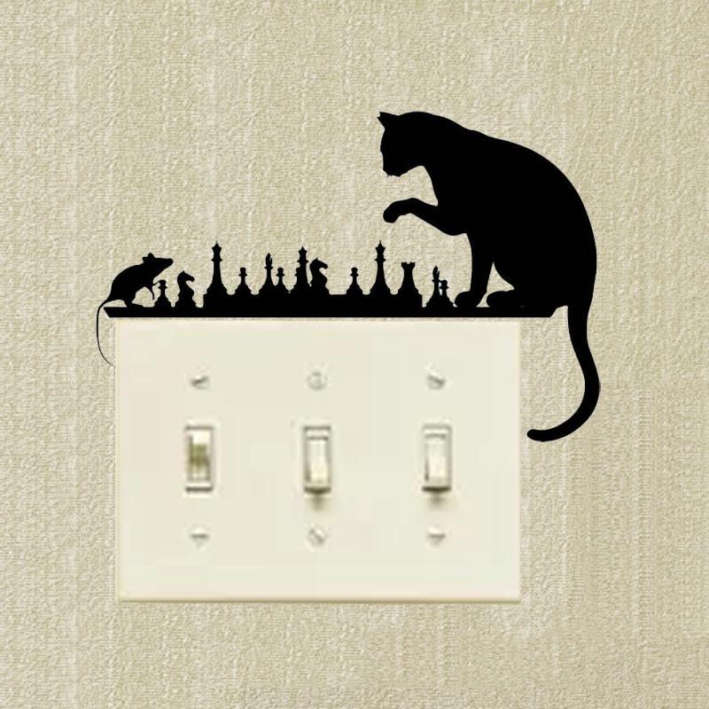 Switch Sticker Chess Cat Mouse Art Animals Vinyl Decal Decorative Cartoon Creative Wall Decals 2SS0505