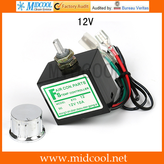 US $7 67 |DC 24V / 12V 10A Evaporator Temperature Controller Rotary Switch  Electronic Thermostat with Sensor Auto A/C Air Conditioning on