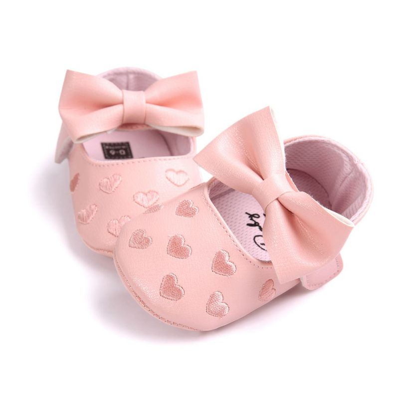 PU Leather Embroidery Love Big Bow Baby Princess Shoes Prewalkers Soft Bottom Boots Cute Newborn Babies Wedding Party Shoes