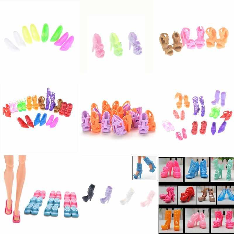 1/10 pares de Moda Coloridas Sandálias Bandagem Arco Sapatos de Salto Alto Para Boneca Acessórios Roupas Vestido Prop Presente de Natal