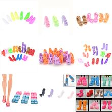 1/10pairs Fashion Colorful Sandals Bandage Bow High Heels Shoes For Barbie Doll Accessories Clothes Dress Prop Xmas Gift(China)