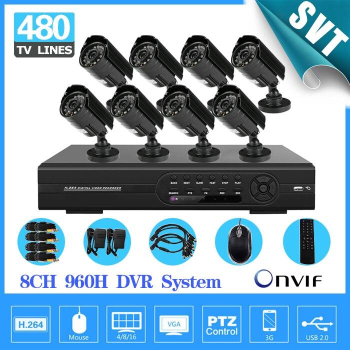 Rapide Express IR jour nuit vision Extérieure CCTV Caméra Kit de Sécurité 8 canaux full D1 cctv DVR Système Enregistreur SK-012