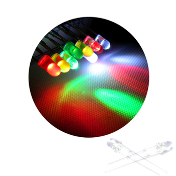 100Pcs Free Shipping 3mm Through Hole High Brightness LED Diode Light Color=Green/Red/Yellow/Blue/White image