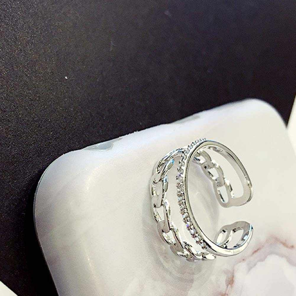 Модные Винтаж цепи двойной слой кольцо цвета: золотистый, серебристый Цвет простой кристалл проложить Установка украсить Открытое кольцо Для женщин ювелирные изделия