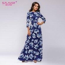S. SABOR Mulheres Bohemian Vestido Longo de venda Quente Outono Inverno Moda Vestidos de Impressão de Boa qualidade Mulheres Elegantes Vestidos Longos