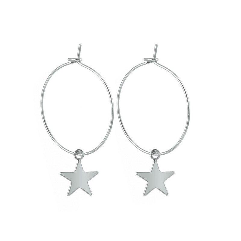 1 Paar Mode Neue Glänzende Einfache Nette Stern Kleine Hoop Ohrringe Mit Anhänger Silber Gold Farbe Ohrringe Für Frauen E300-t2 Und Verdauung Hilft