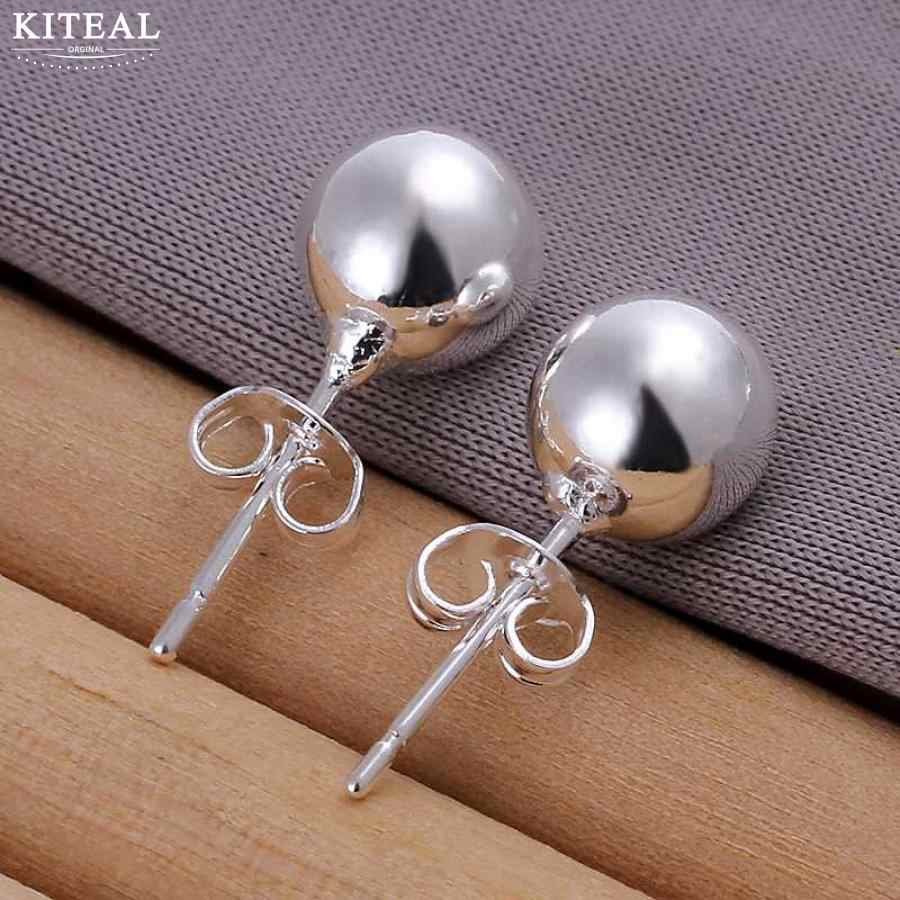 Kiteal Wholesale  4mm 5mm 6mm 8mm Beaded Bead Silver Plated Earrings For Women 925 Jewelry Silver Earring Xmas Gift