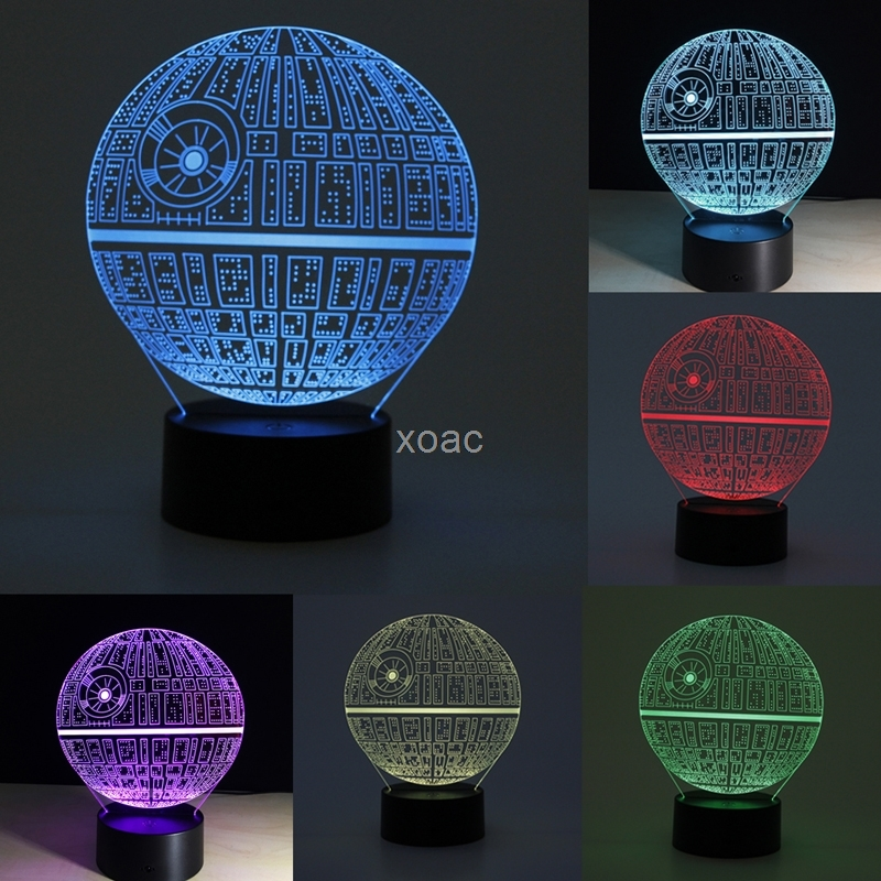 Star Wars Death Star 3D LED Night Light Touch Switch Desk Table Lamp 7 Color New M15 Dropshipping floral printed long sleeve tee