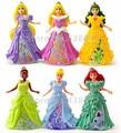 New Princess Magiclip Fashion Dolls Set of 6 Rapunzel Little Mermaid Cinderella Belle Sleeping Beauty Tiana Figure Doll Toy Gift
