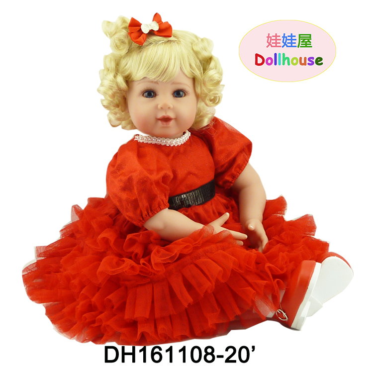 22 Soft Vinyl Baby Reborn Doll Blue Eyes Blonde Hair Toddler Baby Doll in Red Dress