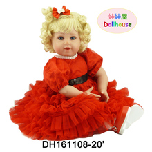 22″ Soft Vinyl Baby Reborn Doll Blue Eyes Blonde Hair Toddler Baby Doll in Red Dress Christmas Gift Toys for Children