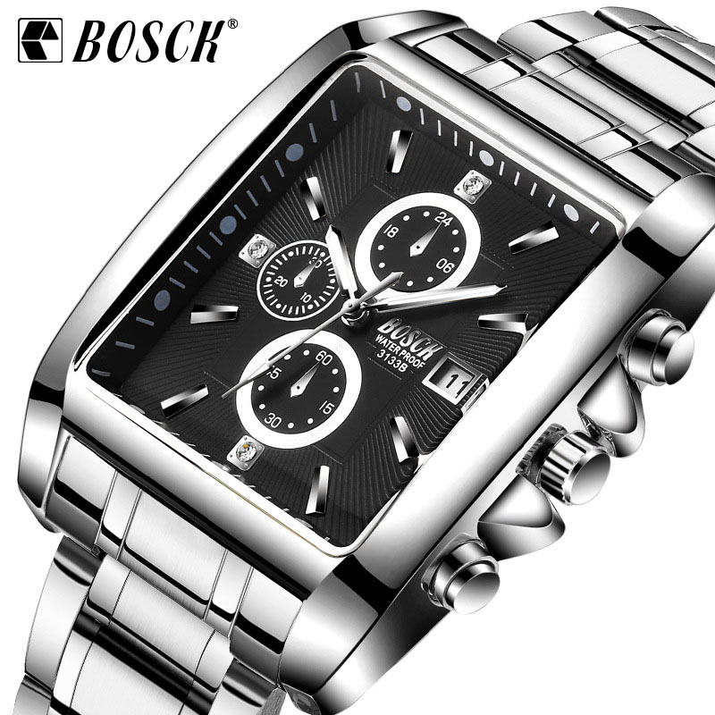 BOSCK Men Square Dial Watch Mens Steel Strap Sports Quartz Watch Male Luminous Waterproof Wristwatch Relogio Masculino
