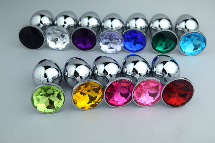 Stainless Steel+Crystal Jewelry Anal Beads Prostate Massage Butt Plug Sex Toy Dildo Sextoys Erotic Toys For Men Woman-S 12color