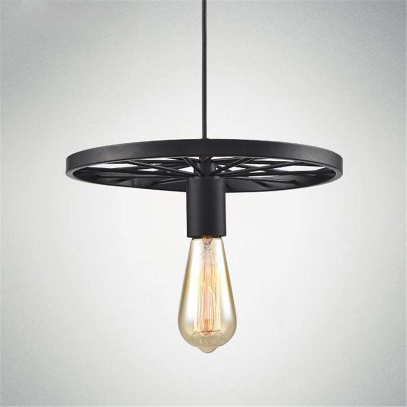 Vintage Industrial Style Pendant Light with Black Iron Wheel-Like Retro Ceiling Lamp for kitchen