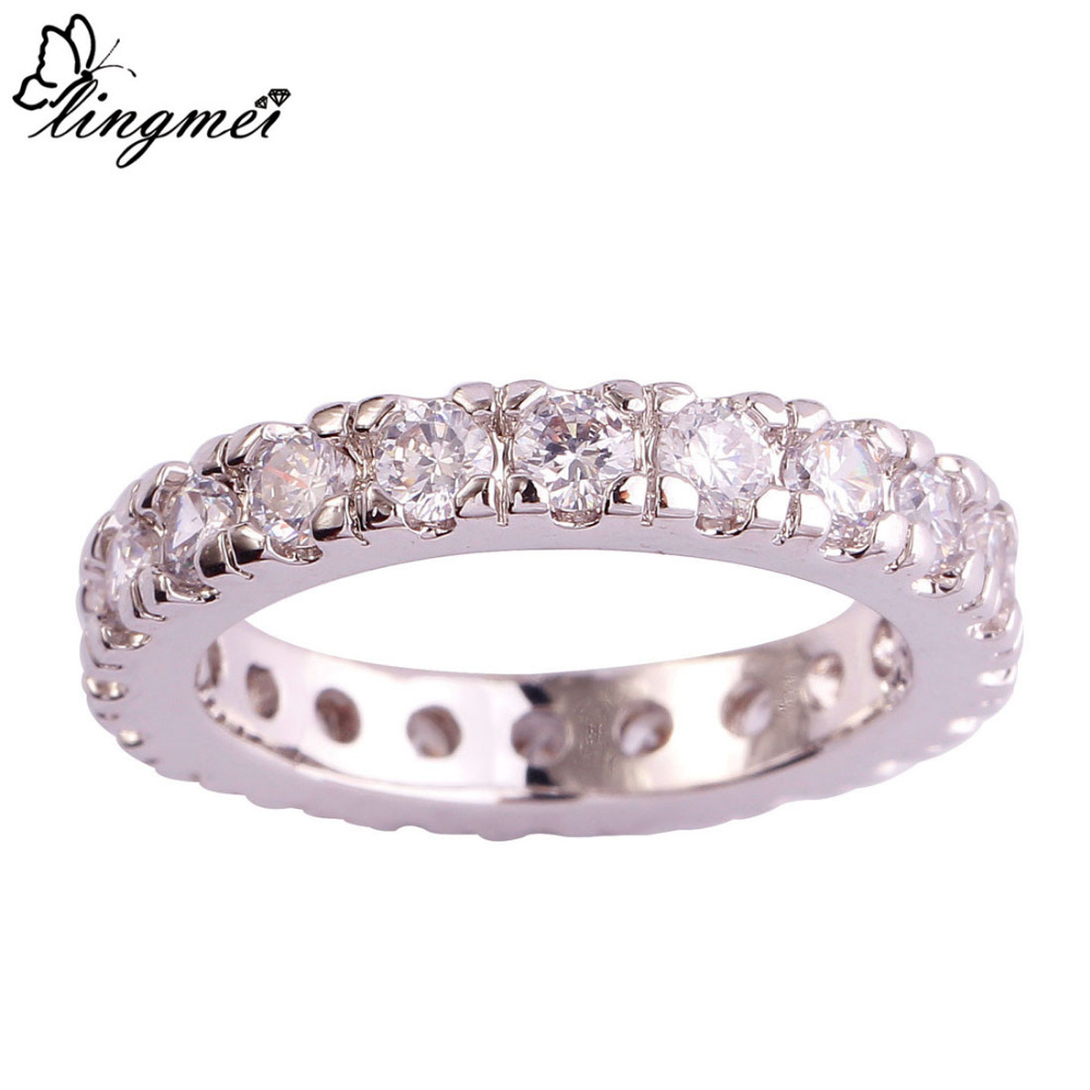lingmei cocktail white cz silver ring size 6 7 8 9
