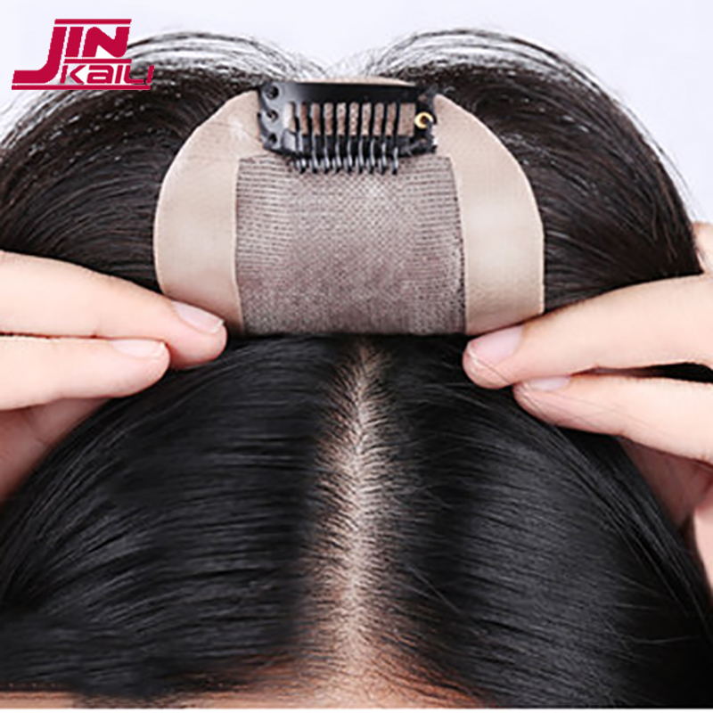 JINKAILI Top Piece Closure Toupee Black Brown Top Natural Straight Hair Female Hear Resistant Synthetic Hair Piece Women