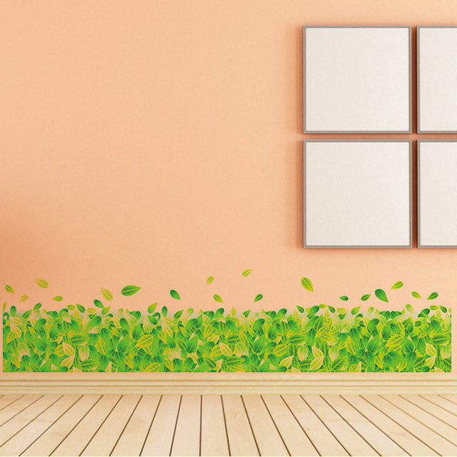 Green leaf grass wall stickers kidper line fresh home living room glass window decorative corner sticker