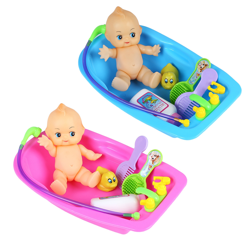 Colorful Kawaii Simulated Doll Infant Bathing Bathtub Play Gadget Baby Funny Early Education Toys for Children Gifts