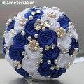 Брошь Королевский Синий Белый Потрясающие Свадебные Букеты Невесты Атласные Розы Искусственные Цветы Красивые Бросьте Свадебный Букет W128