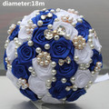 Brooch Royal Blue White Stunning Bridal Bridesmaid Bouquets Satin Rose Artificial Flowers Beautiful Throw Wedding Bouquet W128