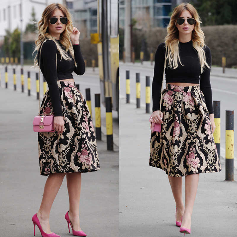 Sexy Women Retro Floral High Waist Pleated Party Midi Skirt Lady Girls Vintage Flower Printed Skirts 4 Size