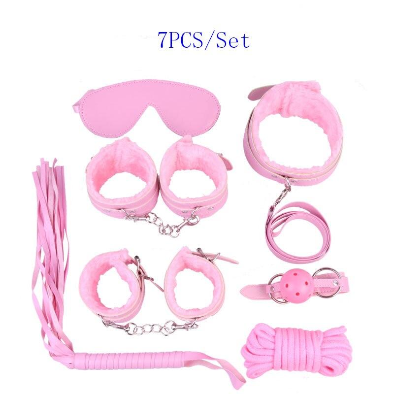 Pink 7pcs/set Role Play Faux Leather Fetish erotic toys bondage restraints Kit Mask Ball Gag Hand Cuffs Sex toys couples