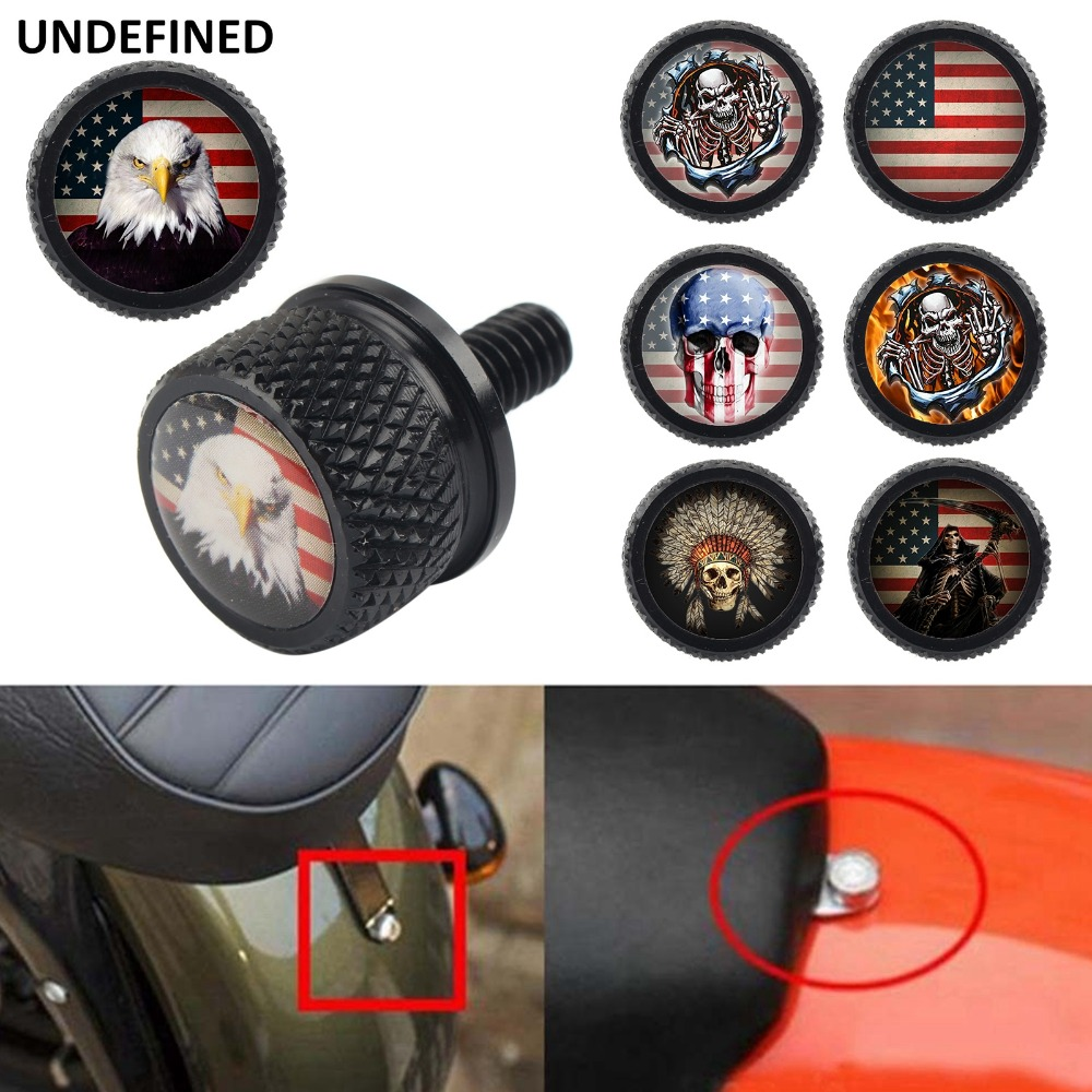Universal Rear Billet Motorcycle Seat Mount Knurled Bolt Screw Cap For Harley Softail Dyna Sportster 2009 2014 Wheel Bolt Caps