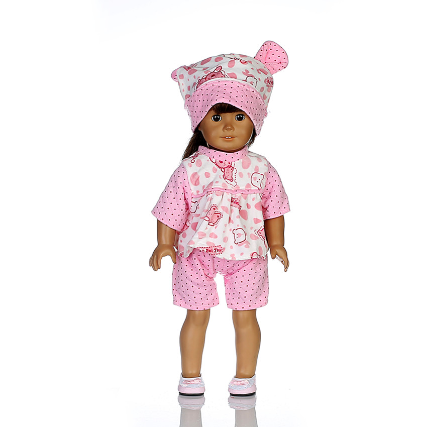 Doll Clothes fit American Girl 18 inch Footed Pajamas Candy Canes Christmas Pink n292
