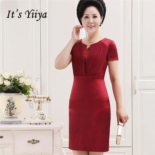 ecabdde3650 It s Yiiya Mother of the Bride Dresses Plus Size Summer Slim O-Neck Short  Sleeve Fashion Designer Elegant Mother Dress M051