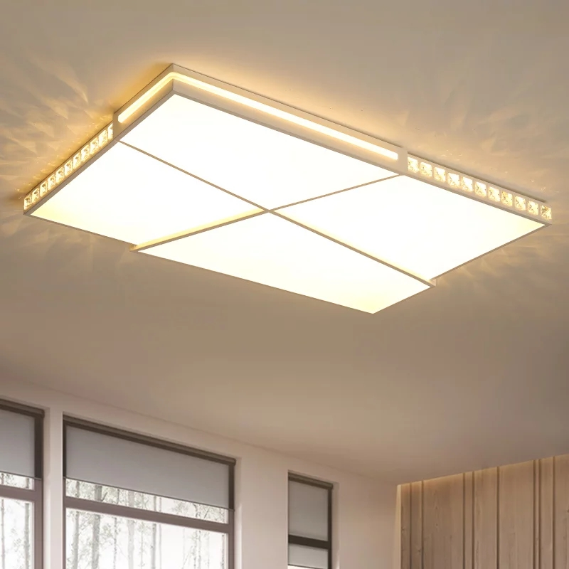 Rectangle Modern Crystal Led Ceiling Lights For Living Room Bedroom Study Room 110V 220V White Finish ceiling Lmap Fixtures