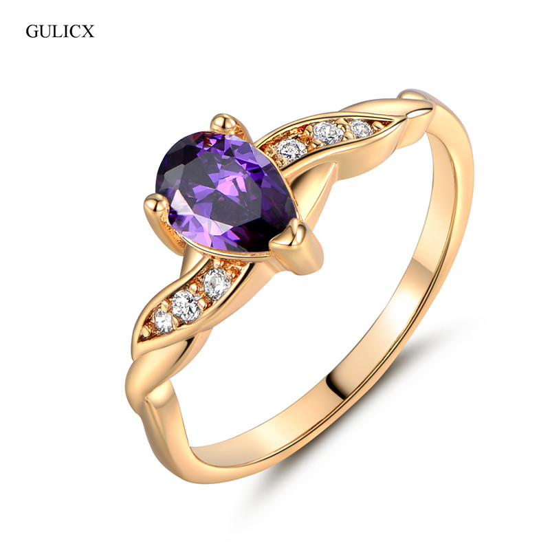 GULICX 2017 New Fashion Midi Ring for Women Gold-color Water Drop Purple Cubic Zircon Band Engagement Jewelry R106