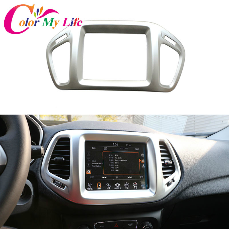 1 Piece ABS Chrome Car Center Control Navigation Cover Trim Sticker Case For Jeep Compass 2017 2018 Auto Accessories car rear trunk security shield cargo cover for jeep compass 2007 2008 2009 2010 2011 high qualit auto accessories