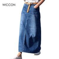 Autumn Winter Fashion Women Long Denim Skirt Casual Plus Size Maxi Skirts Blue Color Vintage Jeans