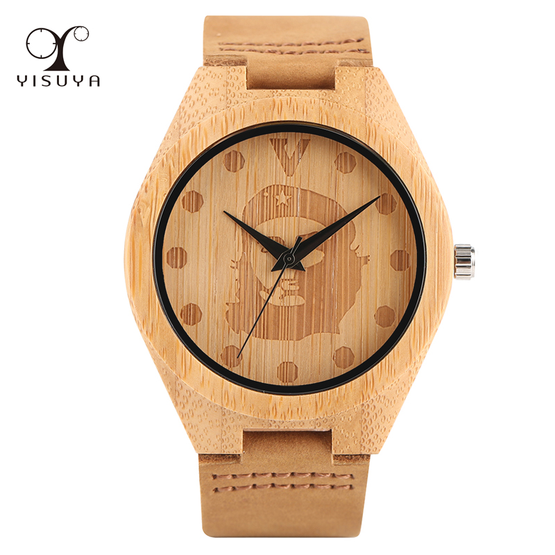 YISUYA Men Wooden Watch Argentina Che Guevara Design Bamboo Genuine Leather Strap Quartz Wristwatch for Gift hand made mens wooden bamboo quartz watch black genuine leather watchband simple unique modern wristwatch gift for male female