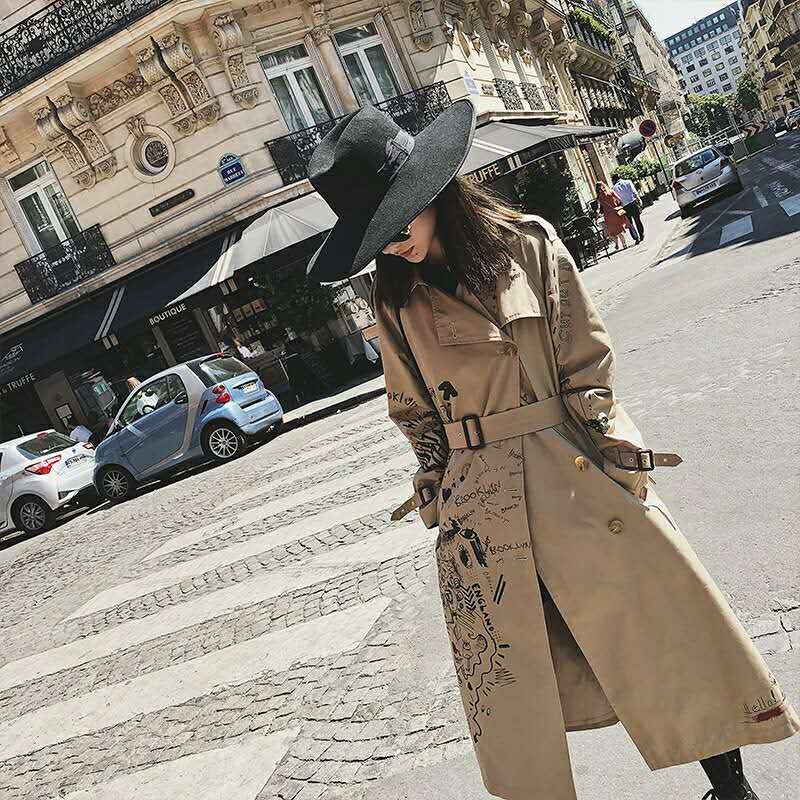 trench coat for women cotton long trench coatdouble breasted coat women winter printing Graffiti Khaki With