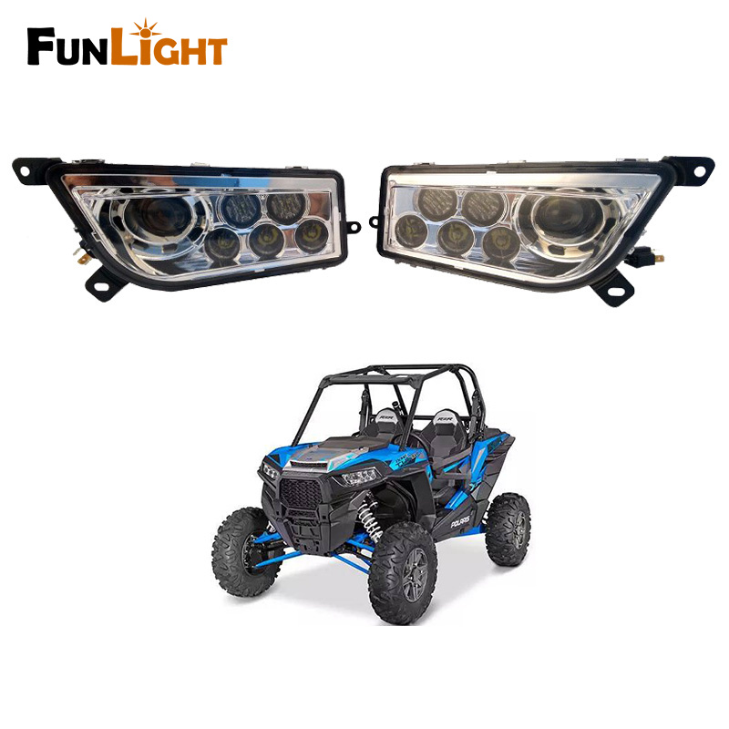 Funligt Left & Right Hand ATV LED Headlight Kit for 2014-2016 Polaris RZR XP 1000, 2015-2016 RZR 900, 2016 RZR XP TURBO