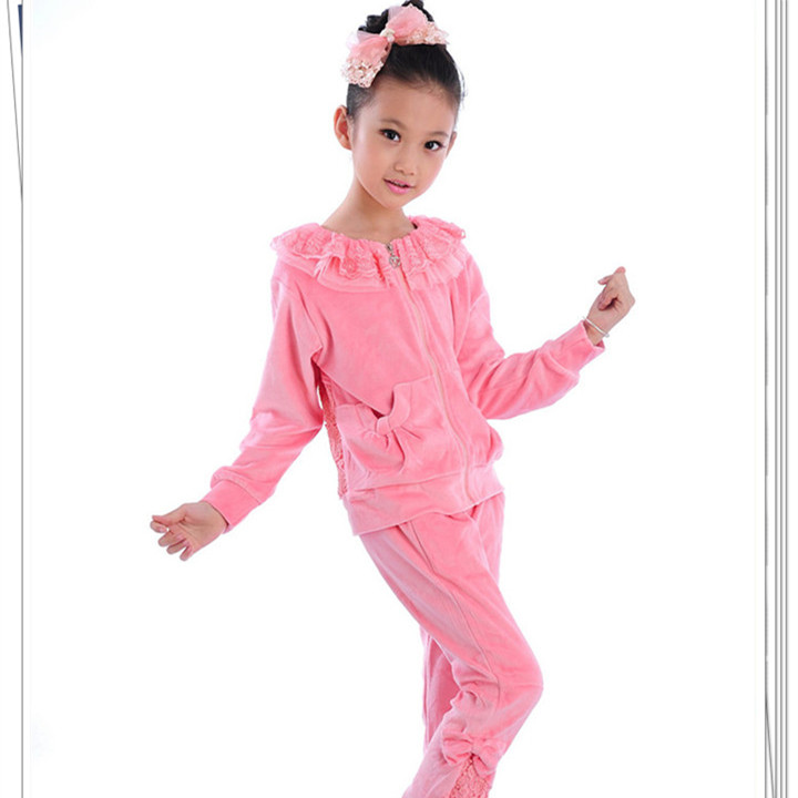 New Arrivals Girls Clothing Sets Pink Two Pieces Children Clothes Sport Set For 6-14 Years Old Girls Clothing KS-1574 girls clothes children clothing solid t shirt and mesh tutu skirt 3pcs suit set for girls sets 3 6 8 10 12 14 15 16 years old 45