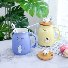 Creative New Cartoon Glazed Cat Ceramic Cup With Lid And Spoon Mug Japanese Coffee Water Milk Cups Mugs