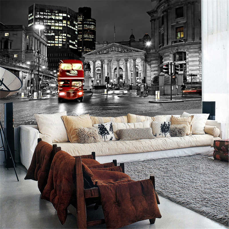 beibehang mural living room sofa backdrop bedroom wall bar modern personalized wallpaper London street wallpaper mural